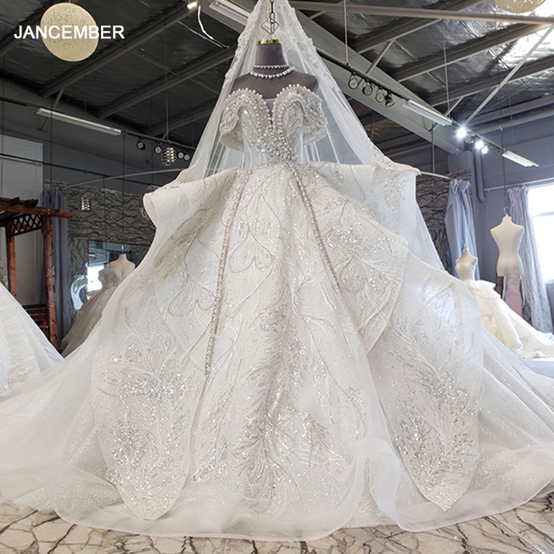 HTL2199 Luxury wedding gowns with cape beaded ball gown short sleeves high neckine lace vestido de noiva princesa real photos 1