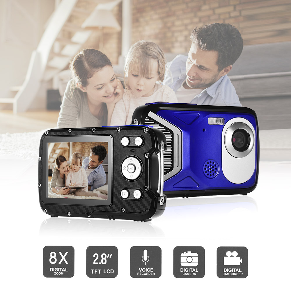 Photography 8MP 1080P FHD Digital Camera CMOS 2.8 Inch LCD Display 8X Zoom 5M Underwater Anti-shake Face ID Rechargeable Battery image