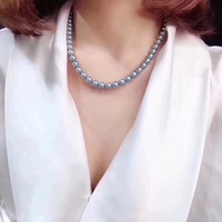 D301 Fine Jewelry Natural Fresh Water Pearls 7 8mm Blue Pearls Necklaces for Women Fine Pearls Necklaces