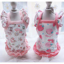 Cute Dog Clothes Summer For Girls Pink Strawberry Print Flying Short Sleeve Vest Shirt For Chihuahua Ruffle Puppy Cat Clothes XL