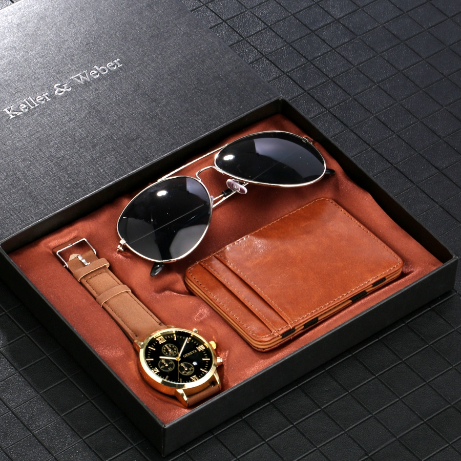 Luxury Rose Gold Men's Watch Business Leather Wallet Fashion Sunglasses Sets for Men Unique Souvenir Gifts for Boyfriend Husband 2020 2021 SKMEI WATCHES (7)