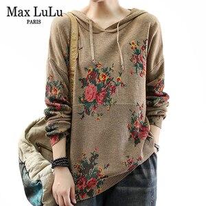 Max LuLu 2020 осенние женские свободные уличные Повседневные свитера с цветочным принтом в китайском стиле женские трикотажные пуловеры с капюш...