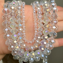 AB Clear Austria Crystal Glass Faceted Rondelle Beads Loose Spacer Beads For Jewelry Making DIY Bracelet Necklace 4/6/8/10/12mm