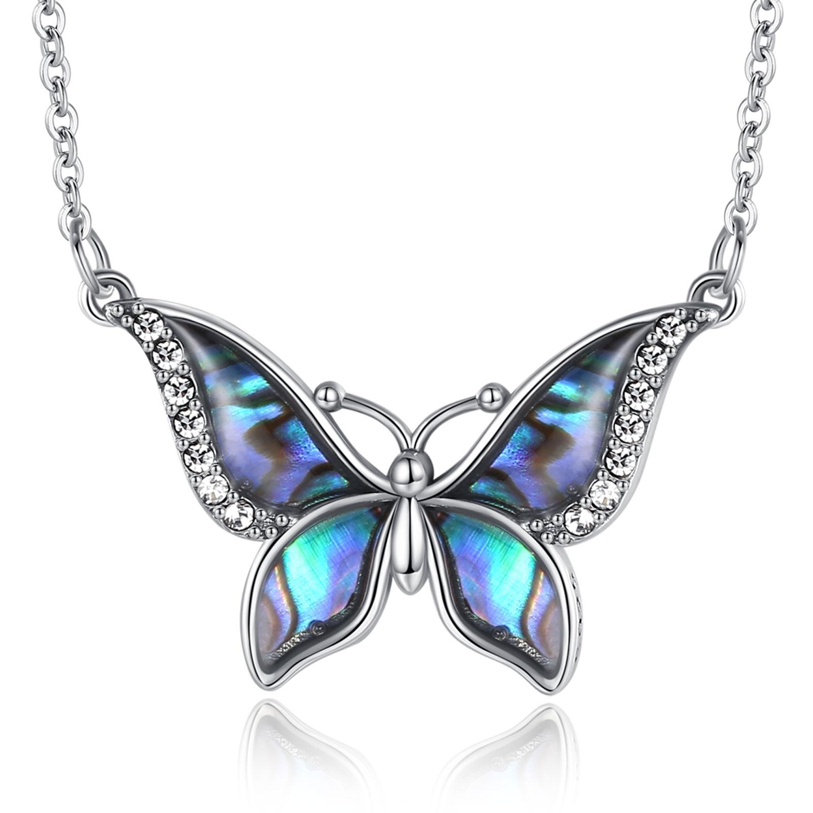 Traumhaft schimmernder Schmetterling aus Abalone Perlmutt | 925 Halskette 925 Halsketten