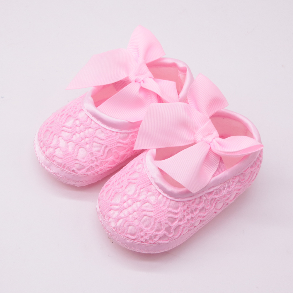 Princess Shoes Soft Bottom Newborn Baby Shoes Spring And Autumn Toddler Shoes Christening Wedding Bow Non-slip Girls Shoes 0-1Y