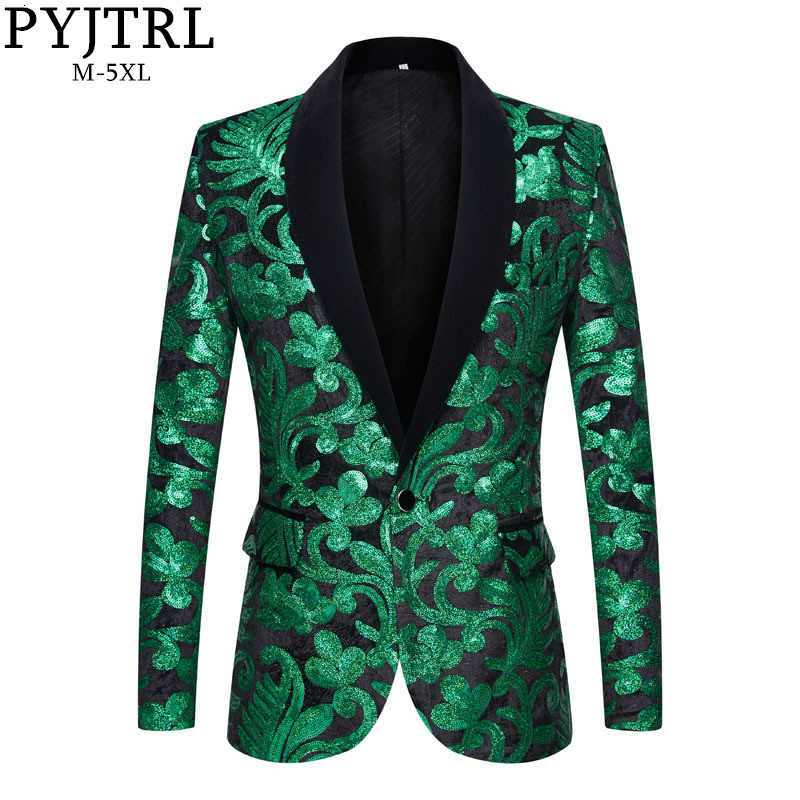 PYJTRL Men Stylish Shawl Lapel Blazers Green Black Velvet Floral Sequins Suit Jacket Wedding Prom Stage Singers Slim Fit Costume