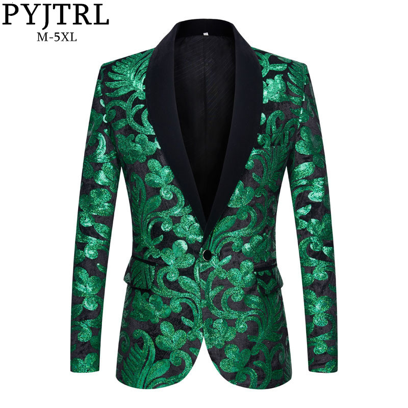 PYJTRL Men Stylish Shawl Lapel Blazers Green Black Velvet Floral Sequins Suit Jacket Wedding Prom Stage Singers Slim Fit Costume