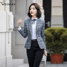 2019 New Fashion Business Interview Plaid Suits Women Work Office Ladies Long Sl