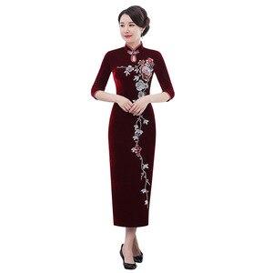 Image 5 - Inverno novo de veludo dourado cheongsam longo prego grânulo retro melhorado vermelho casamento brinde mãe de lei vestido mostrar alto grau