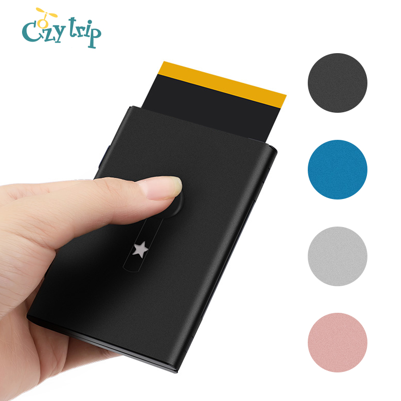 Professional Automatic Pop UP Business Cards Holder Thumb-Drive Metal Name Card Case For Men And Women