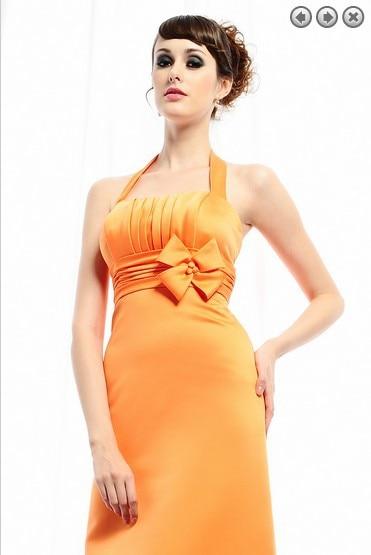 Free Shipping Brides Maid Dresses 2016 New Fashion Bridal Gowns Plus Size Short Sweetheart Halter Orange Bridesmaid Dresses