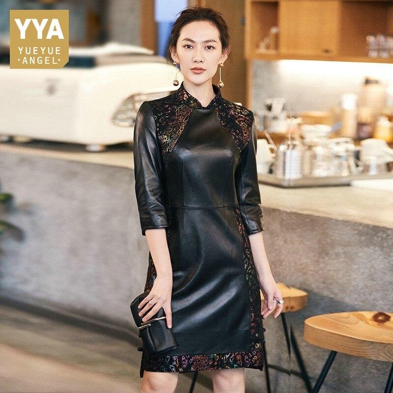 Vintage Elegant Autumn Womens Printed Patchwork Sheepskin Dresses Slim Genuine Leather Stand Collar Female Cheongsam Plus Size
