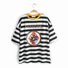 Western Style Summer Wear New Style with Holes Mid-length Stripes Pure Cotton Fat Mm Large Size T-shirt Tops WOMEN'S Dress F20-9