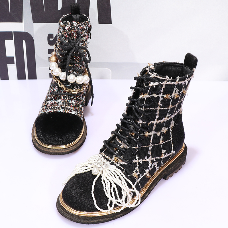 OLOMLB Womens Round Toe Plaid Check Pearls Round Toe Ankle Boots Creepers Lace Up Oxfords Shoes A\Black British Styles Girls
