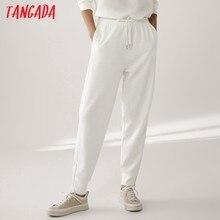 Tangada 2021 mode femme blanc pantalon femmes Cargo taille haute pantalon pantalon ample Joggers femme pantalons de survêtement 6D89