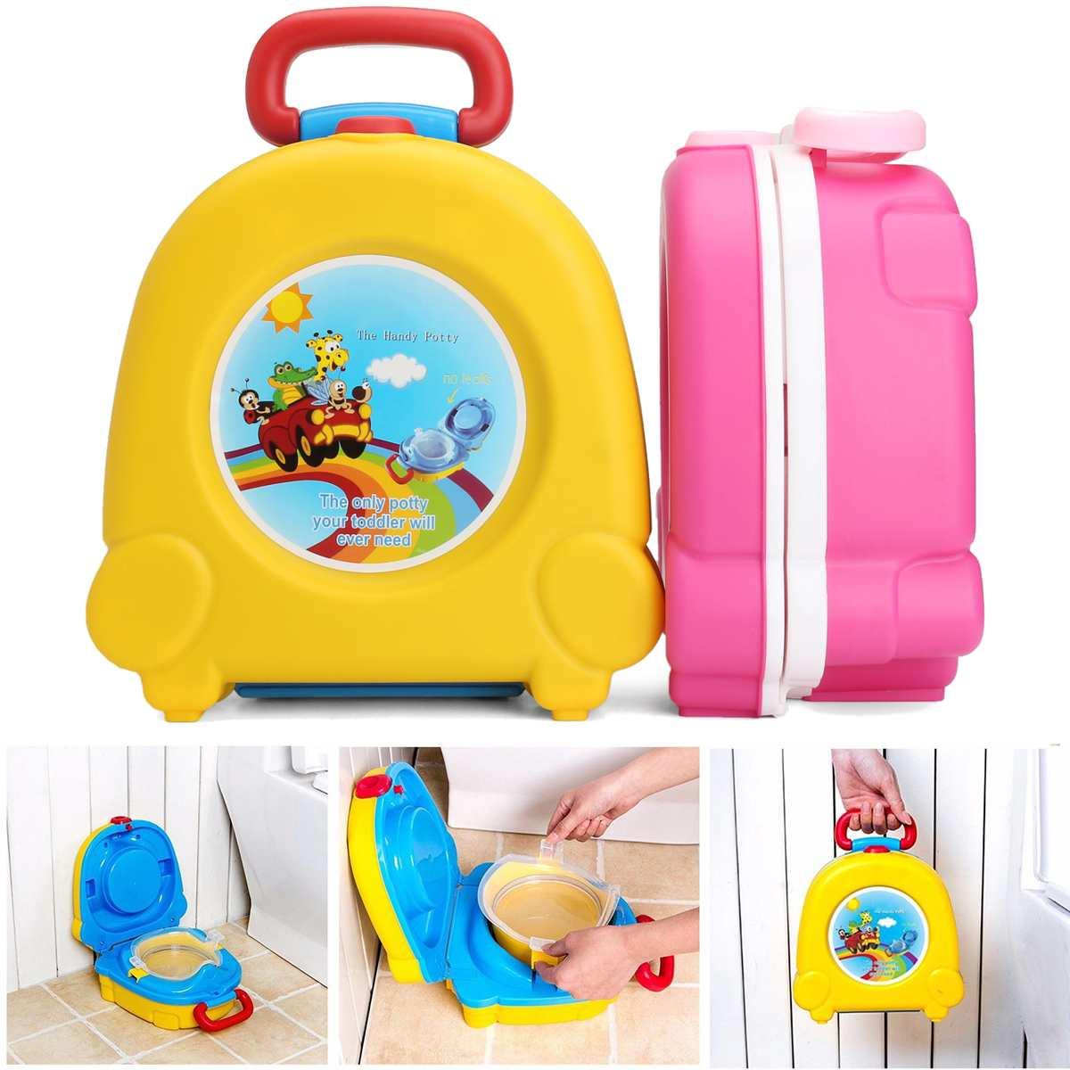 Portable Car Baby Potty Toilet Seat Bowl Training Pan Kids Pot Bedpan Comfortable Backrest Toilet Girls Boys Cartoon Pots
