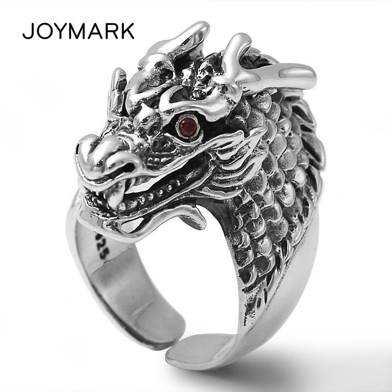 Retro Dragon Head Thai Silver Ring For Men Unique Characterful S925 Sterling Silver Jewelry Openable Rings Christmas Gift TSR102