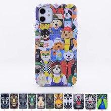 Luxo floresta rei animais enfrenta leão lobo coruja padrão macio tpu caso capa para iphone 12 pro max caso de telefone para iphone 12 mini