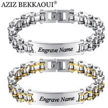 Bangle Bracelet Engrave Custom Stainless-Steel Personalized Man Name AZIZ BEKKAOUI Motorcycle-Chain-Letter