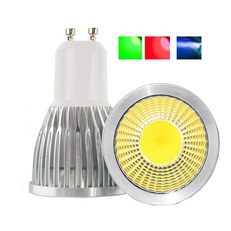 COB Led Spotlight GU10 Bulbs Dimmable 110V 220V Red Green Blue Lampada Led Lamp 3W 5W 7W
