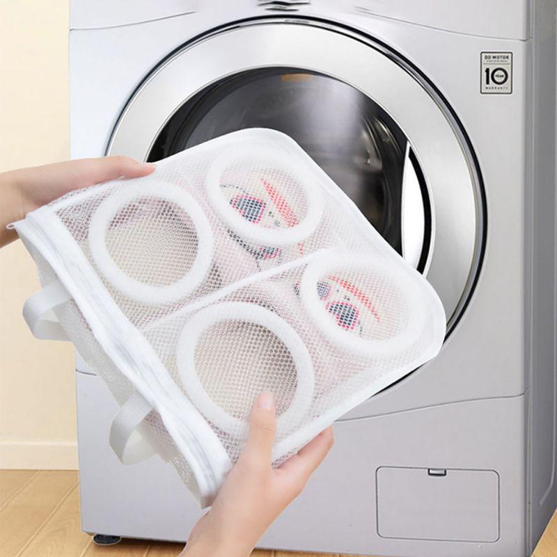 BalleenShiny Nylon Laundry Bag Wash Shoes Trainer Sports Sneaker Tennis Boots Shoes Laundry Mesh Washing Machine Bag Storage