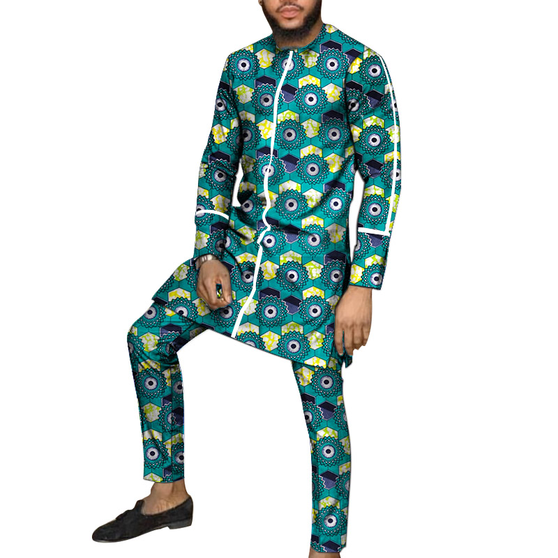 White Strip Design Dashiki Patchwork Shirts African Print Trousers Tailor Made Pant Sets Male Groom Suits Male Ankara Outfits