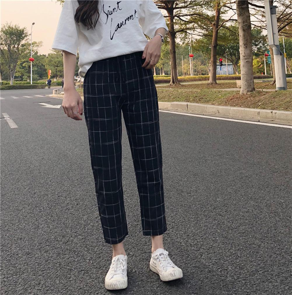 Fashion Women Plaid Loose Casual Drawstring Ninth Carrot Harem Pants Trousers Harem Pants Trousers Fashion Women Harem Pants Tro