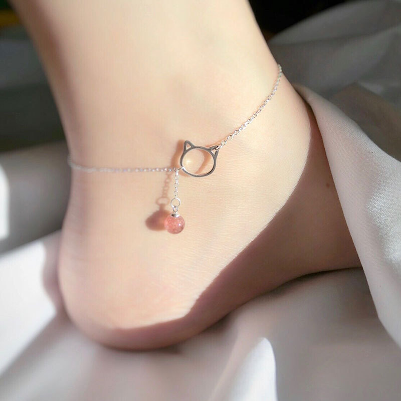 Lovely S925 anklet cats cuffs Female fashion jewelry fetters women fashion accessories foot feet chain jewel girl gifts