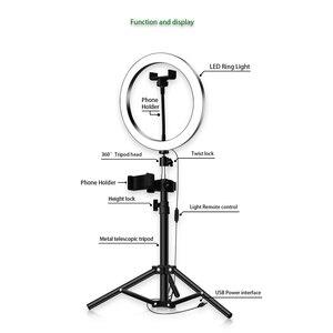 Image 3 - Led リングライト 16 センチメートル 26 センチメートル 5600 18k 64 led selfie リングランプ写真照明三脚電話ホルダー u
