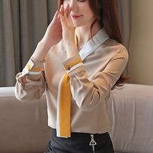 Fashion Autumn Women Shirts Blouses Korean Woman Chiffon Blouse Shirt Plus Size Blusas Mujer De Moda V Neck OL