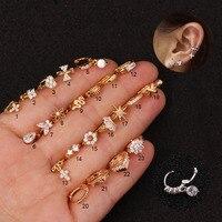 1 pièce acier inoxydable petit cerceau Cz Cartilage boucle d'oreille fleur croix cubique zircone minuscule Tragus Helix Rook oreille Piercing bijoux cadeau