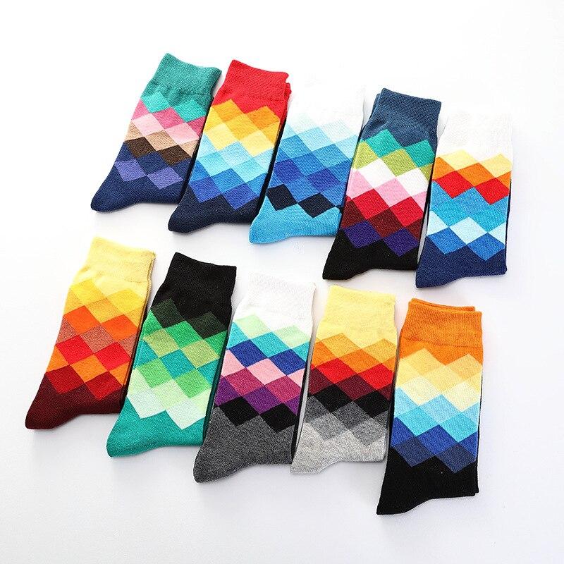 Harajuku Colour Diamond Print Pattern Cotton Socks Men's Mid-Tube Hip Hop Funny Socks Man British Casual Street Style Breathable