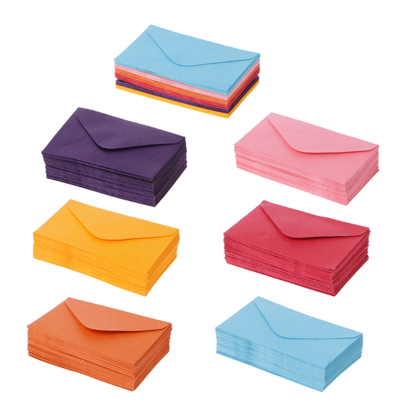 50Pcs/Pack Colorful Envelopes Paper Retro Blank Mini Paper Envelopes Wedding Party Invitation Greeting Cards Gift