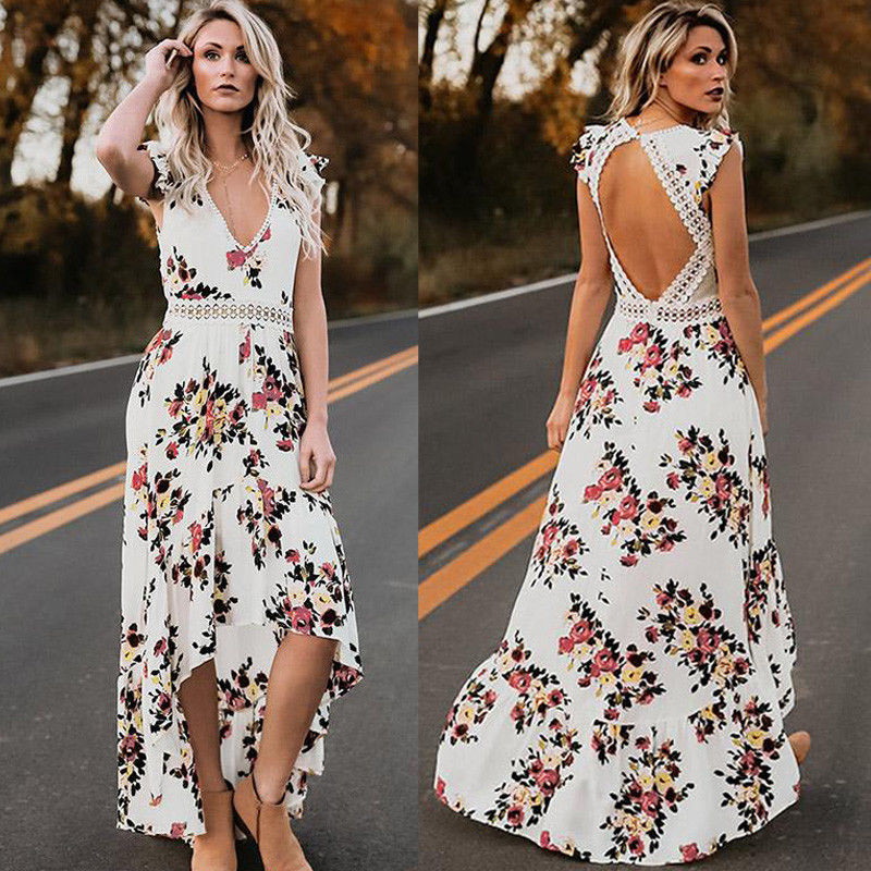 2019 Women arrival Summer <font><b>Sexy</b></font> <font><b>Dress</b></font> <font><b>Frauen</b></font> Sommer Casual Maxi Abend Party V-neck Strandkleid Sommerkleid Beach Floral Sundress image