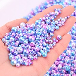 Gradient Mermaid Pearls Beads Multi Size 3mm 4mm 5mm 6mm 8mm Round ABS Imitation Pearl With Hole For DIY Jewelry Bracelet Craft