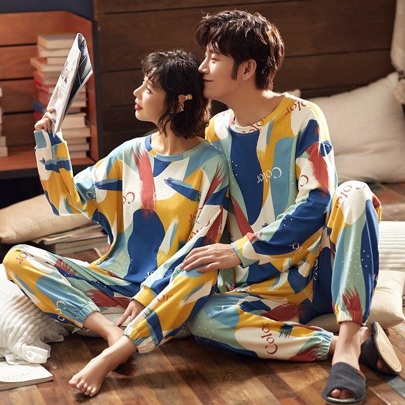 2 Pieces Summer Unisex Adult Couple Pajamas Cotton Animal Cartoon Print Pajamas Set Men Sleepwar Big Size Casual Home Clothes