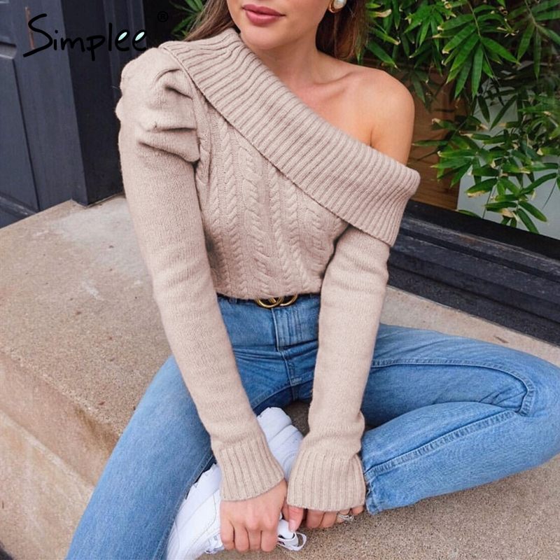 Simplee Sexy Irregular Knitted Sweater Women Asymmetrical Puff Shoulder Pullover Female Jumper Ladies Solid Winter Sweater 2019