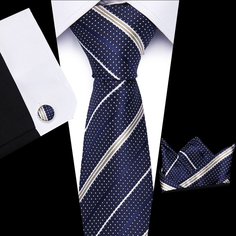 New 39 Style Classic Necktie Stripe Lattice 8 Cm 100% Silk Tie +  Handkerchief + Cuffink Set Wedding Party L10003