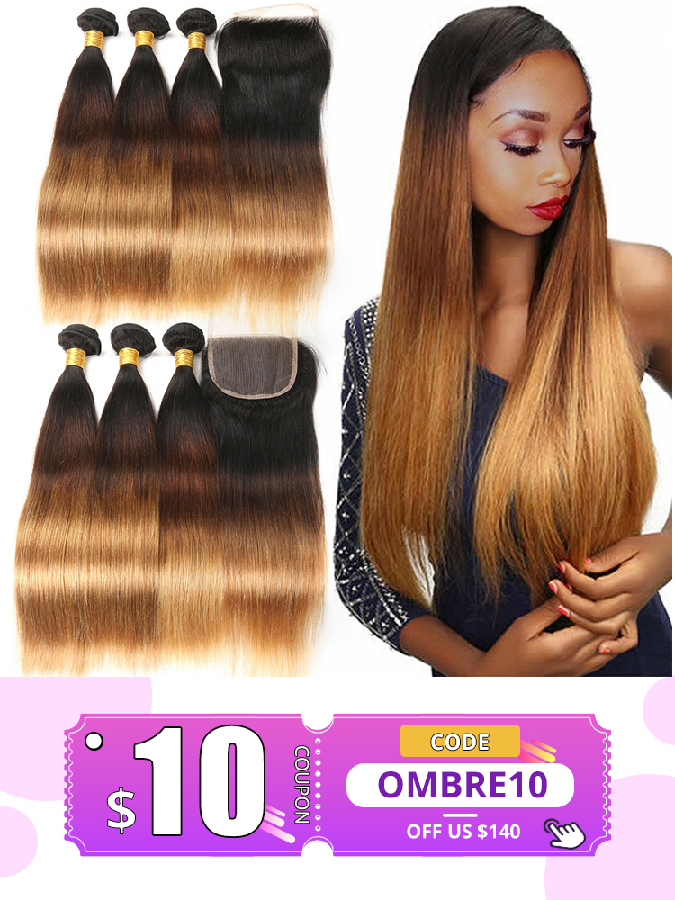Alimice Straight Weaves-Bundles Closure Highlight Human-Hair Ombre Peruvian with 3-Tone