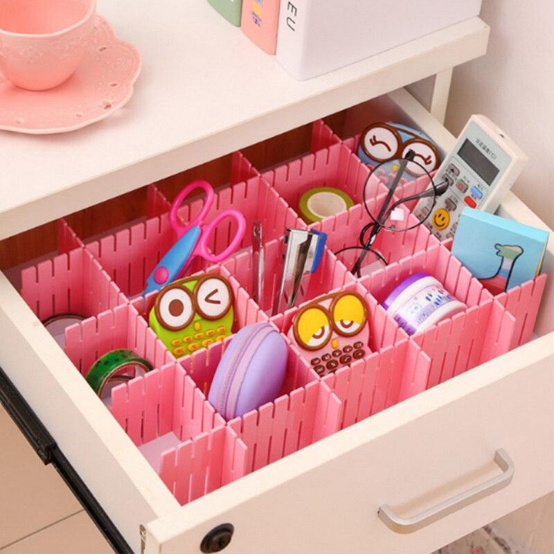 4Pcs DIY Plastic Drawer Grid Separator Divider Partition Storage Organizer  Underwear Socks makeup Clapboard    - AliExpress