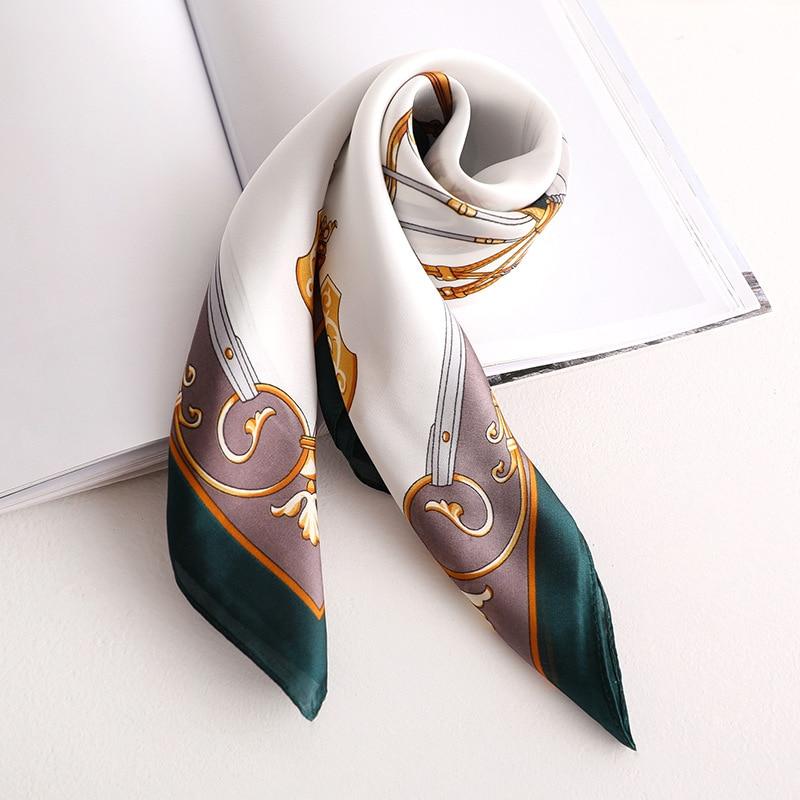 2020 New Women's Silk Scarf Fashion Color Green Printed Bandana Lady Square Scarves Soft Bags SCARF Shawl