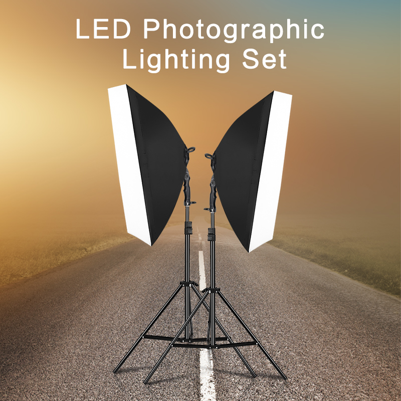 Photography Lighting Studio Light Kit with 2pc 30W LED Lamp 2pc Softbox 2pc 2m Light Stand 1pc Carrying Bag 1