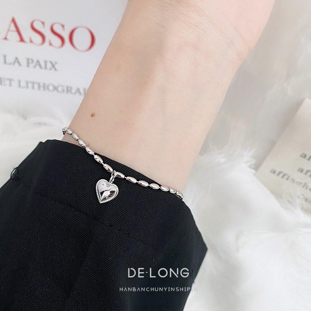 Personalized design rice grain love girlfriend bracelet s925 sterling silver jewelry chic Korean female peach heart bracelet