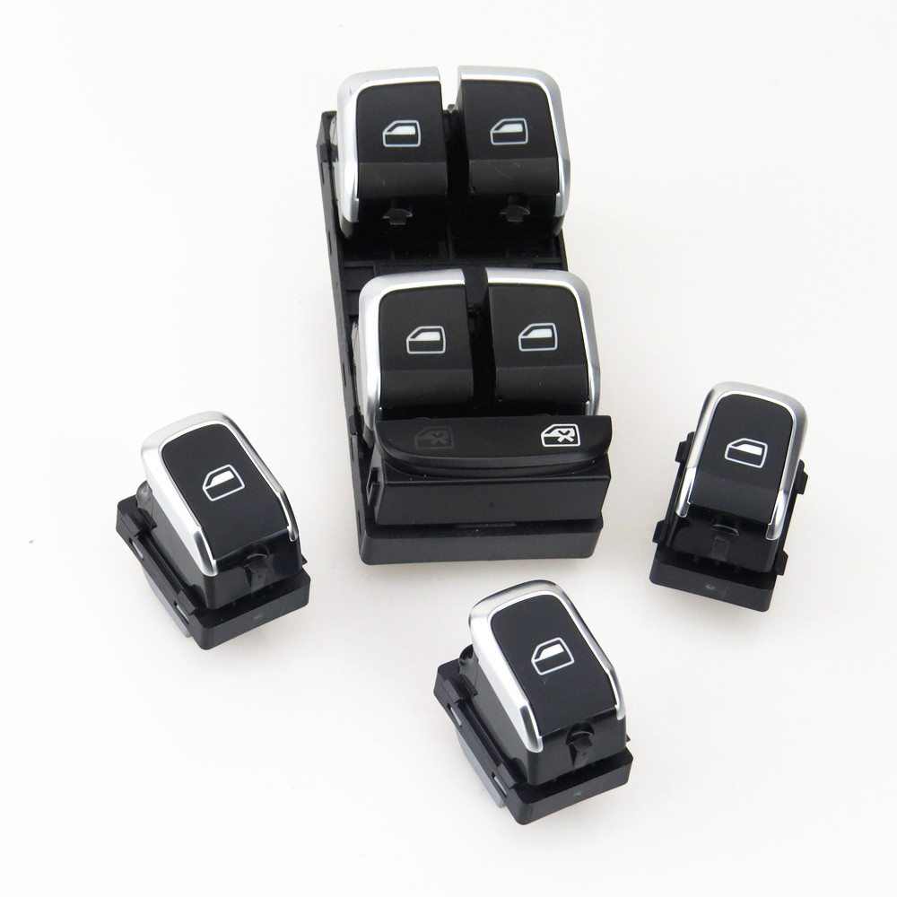 TUKE Driver & Passenger Car Door Window Glass Chrome Switch 4Pcs Set For A4 Allroad S4 Q5 A5 8KD 959 851 A 4GD 959 855 8KD959851 Car Switches & Relays     - title=