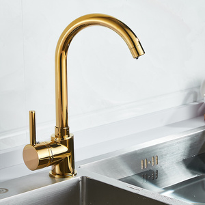 Image 2 - Luxury Gold Kitchen Faucet Gold Brass for Cold and Hot Mixer Tap Sink Faucet Vegetable Washing Basin Brushed Brass