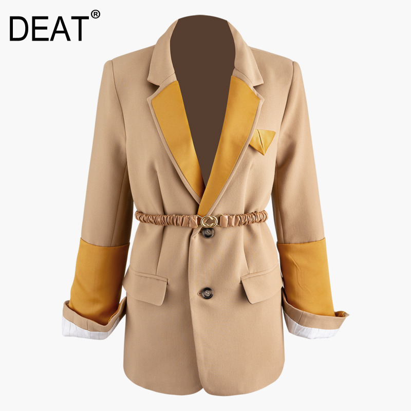 DEAT 2020 New Spring Suit Collar Single Breasted Hit Color Blazer Women Vintage Slim Split Casual Splice Pleated Belt Coat PD542