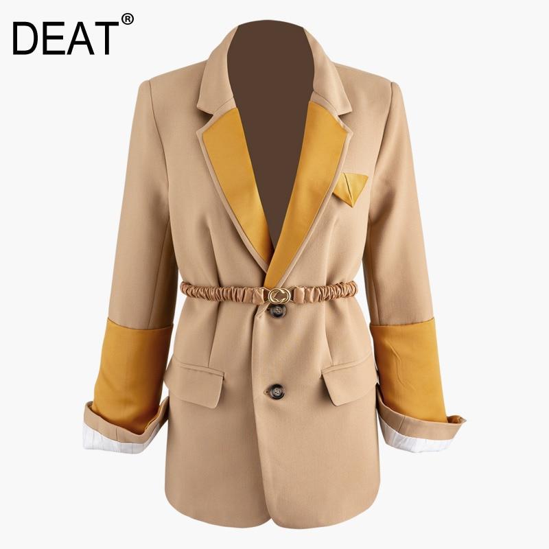 DEAT 2020 New Spring Suit Collar Single Breasted Hit Color Blazer Women Vintage Slim Split Casual Splice Pleated Belt Coat PD542