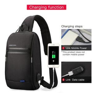 Image 5 - Kingsons tek omuz sırt çantası erkekler Mini sırt çantası su geçirmez Laptop sırt çantası 10.1 inç küçük USB sırt çantası çalışan ve sürme