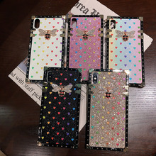 Bee design square phone cases for coque iphone xr 6 6s s plus case 7 8 xs max glitter love heart luxury cover