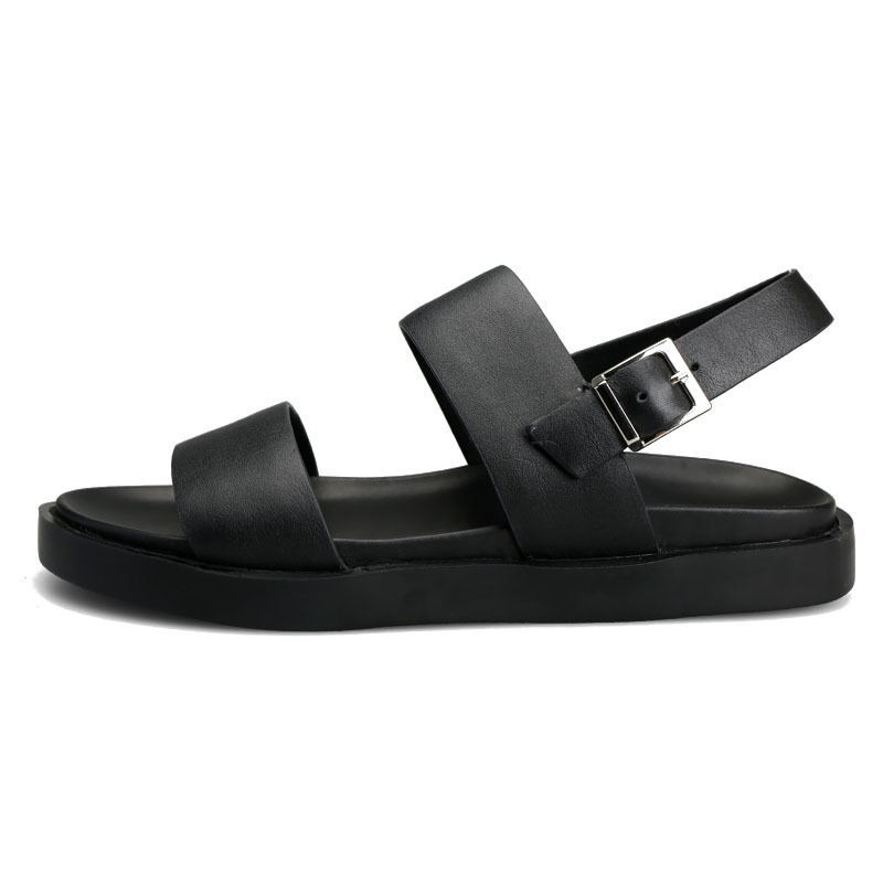 European Summer Casual Ankle Buckle Beach Sandals Classic Genuine Leather Platform Shoes Male Antiskid Leisure Flats Slippers